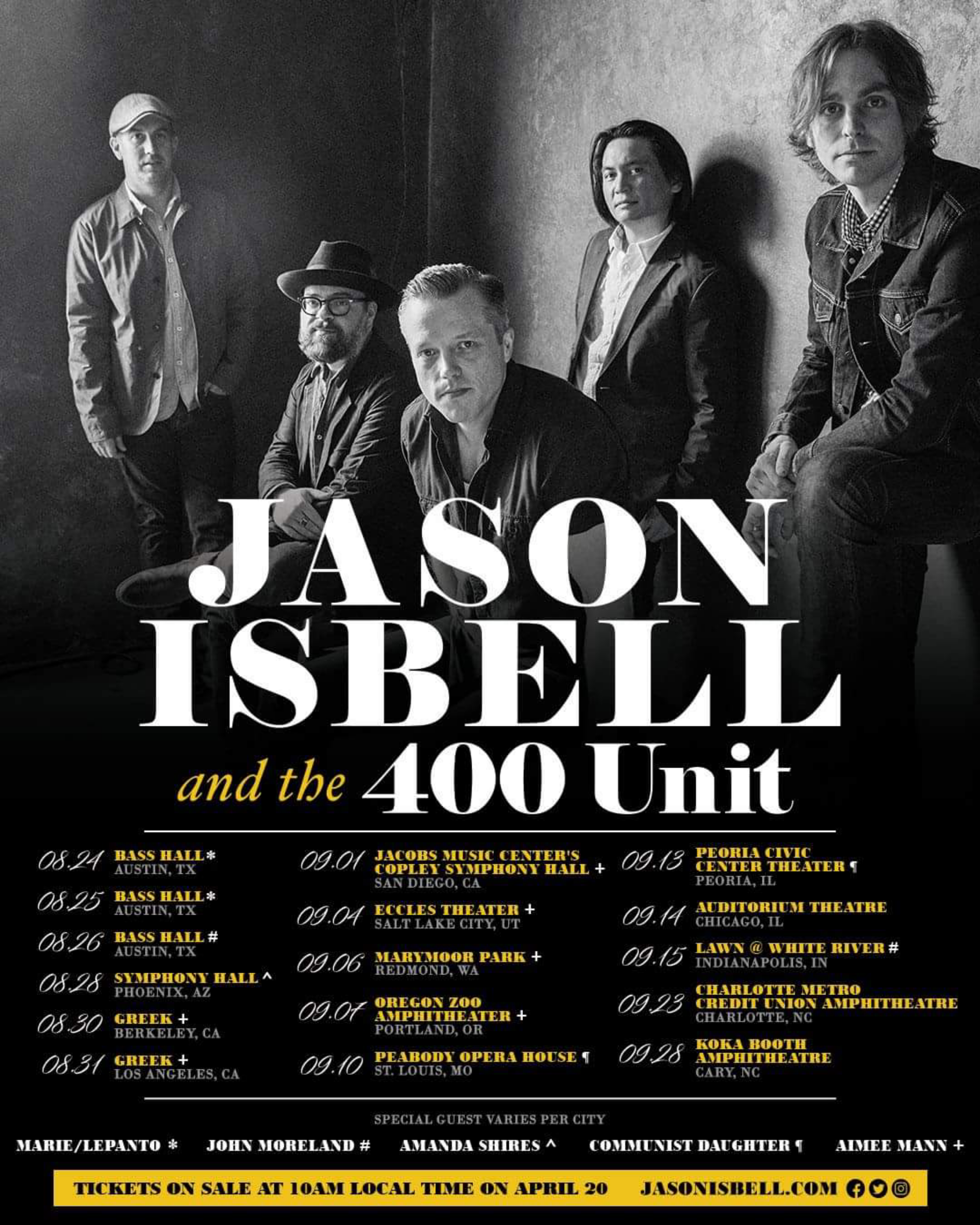 Jason Isbell and The 400 Unit official 2018 tour dates poster
