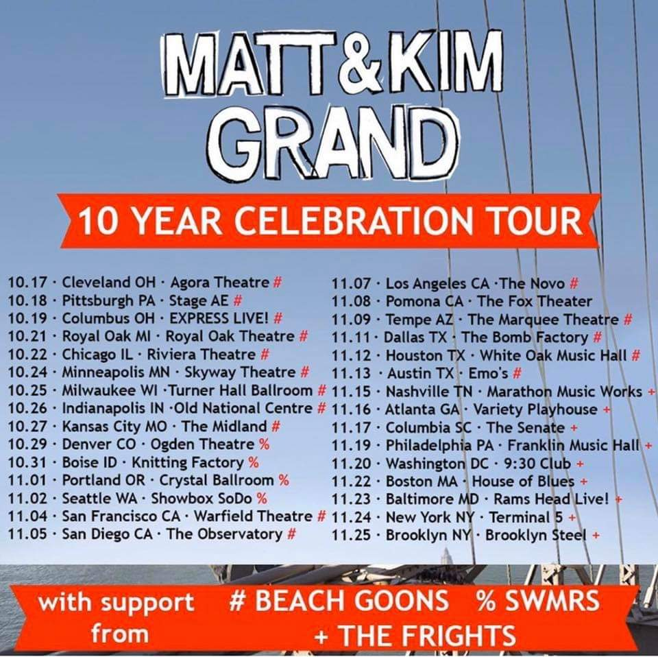 Matt and Kim GRAND 10 Year Celebration Tour